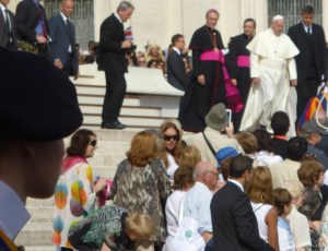 Pope Francis walking into the crowd during the Wednesday audience on October 1, 2014
